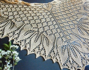Thief Of Orchids Hand Knit Lace Shawl. Openwork Shawl Wrap. Ttriangular Shawl, Merino Shawl, Knit Shawl. Made To Order. Knitted Shawl