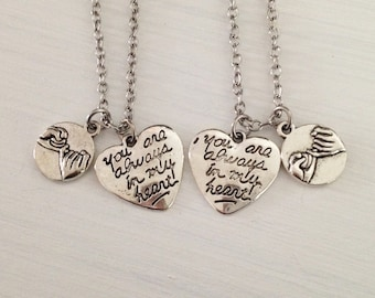 set of 2 pinky promise necklaces - silver heart necklace - bff necklace - friendship necklace - girlfriend gift