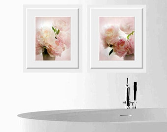 Beautiful pink peonies, For Nursery, Two Photographs, Soft colors, pastels, Fine Art Print, Wall Decor, Romance, Nature