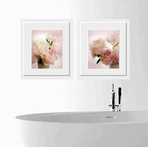 beautiful pink peonies for nursery two photographs soft colors