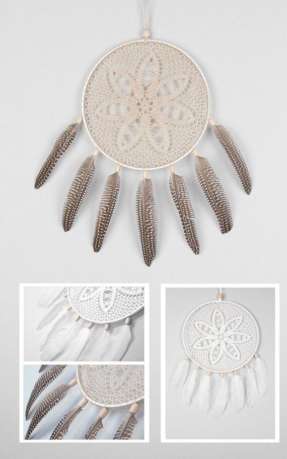 Beige Dream Catcher, Crochet Doily Dreamcatcher, boho dreamcatchers, wall hanging, wall decor, wedding decor, handmade