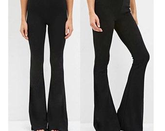 bell bottom pants, black stretch bell bottom pants, flared bell bottom pants, 70's bell bottom, high waist bell bottom pants, vintage