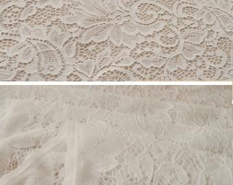 White lace, bridal lace, white stretch lace, white cotton lace