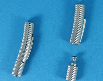 Stainless Steel Bayonet Clasps (Etched Pattern) - Two per Pack