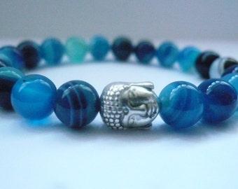 Buddha bracelet Blue Banded Agate gemstone Buddha elasticated bracelet,Tibetan Silver Buddha bead yoga/mala/meditation/healing spiritual