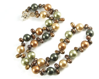 Swarovski Crystal and Freshwater Pearl Single-Strand Necklace with Heart Toggle Clasp - Autumn Colors - Green - Brown  **CLEARANCE SALE**