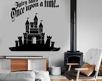 Wall Vinyl Decal Nursery Castle Quotes Ones Upon Time Fairytale Kids Decor 1388dz