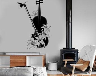 Wall Vinyl Music Violin Flower Floral Guaranteed Quality Decal Mural Art 1550dz