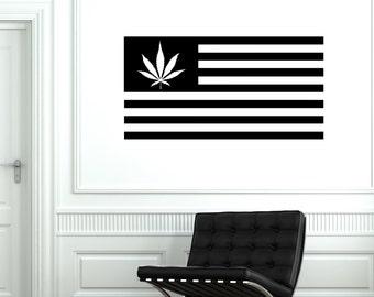 Wall Vinyl Marihuana Marihuana Weed Flag Mural Vinyl Decal Sticker 1788dz