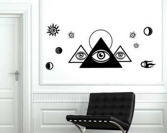 Wall Decal Masons Pyramid Space Universe Cool Mural Vinyl Decal Sticker 1861dz