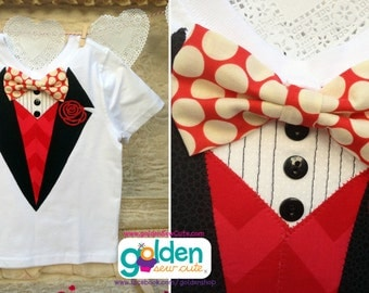 Valentine's Day Faux Tuxedo Bow Tie Tee
