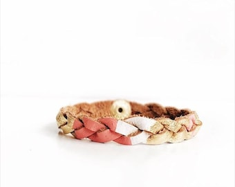 Leather Braided Bracelet, Coral & Gold Stack Bracelet, Coral Jewelry, Diffuser Bracelet, Delicate Leather Bracelet, Layering Bracelet