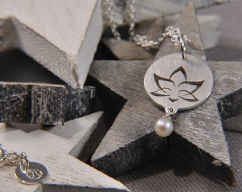 Lotus Flower necklace 925 / - sterling silver with round bead - Silver Flower Necklace Pearl