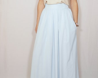 Light blue skirt  Chiffon maxi skirt High waisted maxi skirt with pockets Women skirt