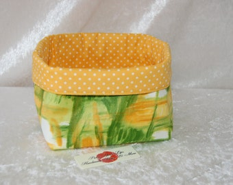 Fabric basket short reversible organiser bin storage sewing. Handmade in England