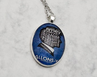 """Doctor Who Galaxy 10th Doctor """"Allons-y"""" Necklace Pendant Fandom Fangirl quote TV-Series Glascabochon handmade fashion jewelry blue"""