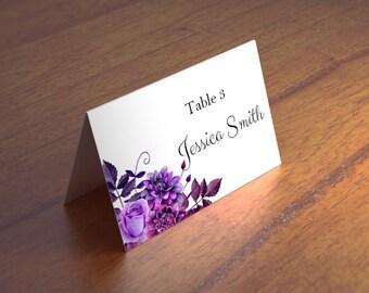 Purple wedding name cards templates Boho wedding place cards printable Escort cards Flower place cards Floral wedding Blank place cards 1W38