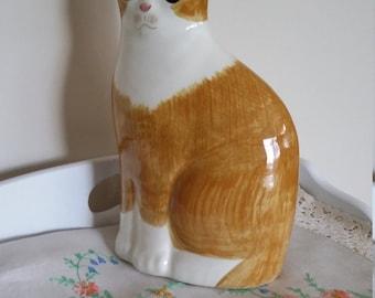 Large ceramic cat, orange cat, cat figurine
