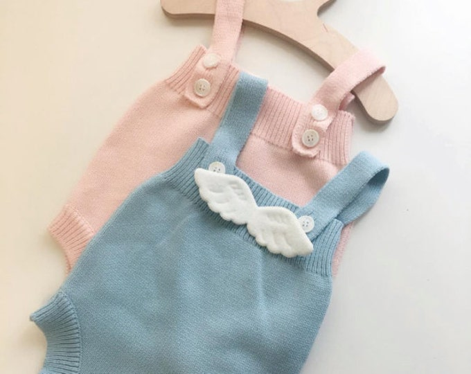 Featured listing image: Cotton Knitted Romper with Angel wings for baby boys girls / Spring Fall Winter outfits / Pink Blue / 1st Birthday photo prop costume / gift