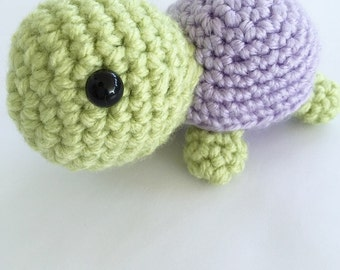 Baby Crochet Turtle with Purple Shell
