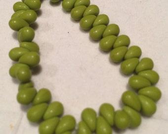 Drop Beads, 4x6mm, Avocado Matte, 0190/DRO, 50 Beads, Czech Glass