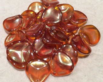Rose Petal Beads - 14mm x 13mm - Crystal Apricot Medium - Czech Glass - 25Beads - 00030-29121