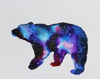 Galaxy Bear Watercolour Giclee Print