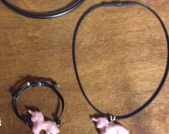 Pottery Unicorn Necklace and Bracelet