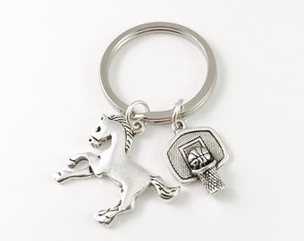 Horse Mustang Keychain, Bronco Mascot Keychain, personalized Sport Keychain, Silver charms, high school mascot, college mascot