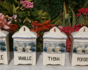 "Antique french Vintage 4 jars spices ""Water lilies"" 1920'c signed Mina - ancient 4 canisters ""water lilies"" 1920 signed Mina"