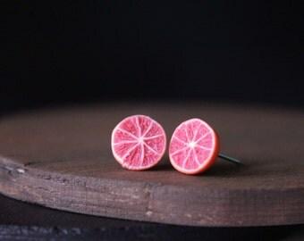 Grapefruit stud earrings, handmade earrings, polymer clay earrings clay studs handmade studs miniature food jewelry cute studs earring studs
