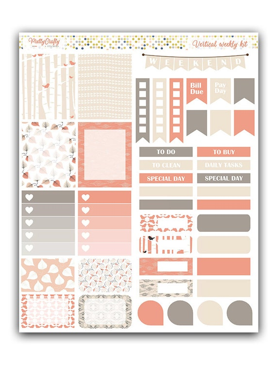 Woods inspired weekly stickers kit | Themed weekly kit | Erin Condren vertical theme weekly kit | Weekly planner stickers