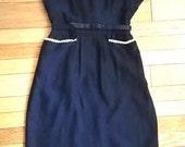 50s Wiggle Dress / 50s Pencil Skirt / Bettie Page Dress / 50s Navy Blue Dress