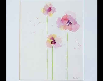ORIGINAL WATERCOLOR PAINTING - 3 Flowers - Pink and Violet - 8 x 10 Painting in an 11 x 14 mat