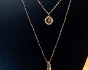 Triple Chain Necklace With Pendant