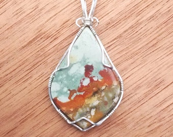 Colorful Blue and Tan Wire Wrapped Picture Jasper Pendant