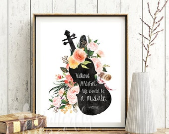 Without music life would be a mistake printable quote poster, Watercolor violin and flowers, Famous music quotes, Wall art print about music