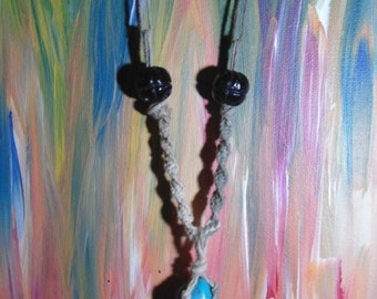 Turquoise stone womens long hemp necklace