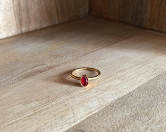 Simple or stacking brass ring with red stone