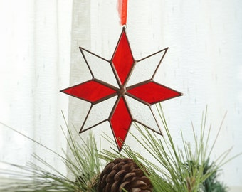 Christmas Tree Ornament, Christmas Gifts, North Star, Holiday Gifts, Christmas Suncatcher, Stained Glass, Xmas Decoration, Gifts for Her