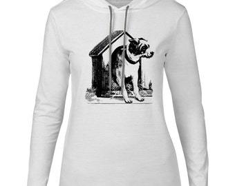 Mintage Dog House Womens Fine Jersey Hooded T-Shirt