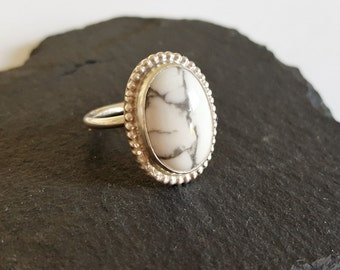 Adjustable Sterling Silver & White Howlite Cabochon Statement Ring