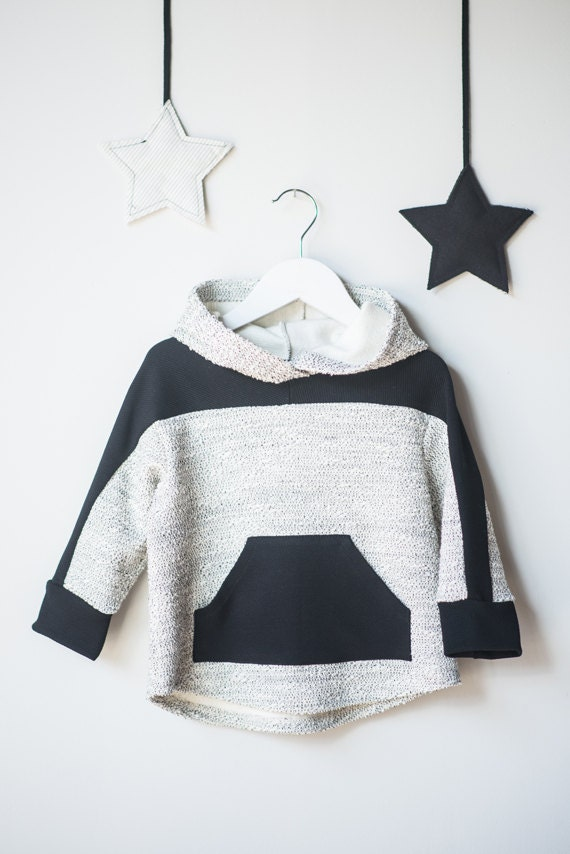 CARIBOU - long-sleeve sweaters with hood, hoodie, kangaroo pocket, pull for kids - black and white