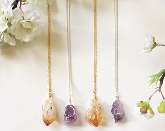 Citrine & Amethyst Wire Wrapped Necklace - Crystal Necklace