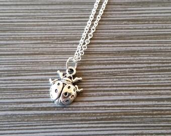 Silver Ladybug Necklace - Ladybug Charm Pendant - Personalized Necklace - Custom Gift - Initial Necklace - Personalized Insect Necklace