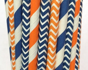 2.85 US Shipping -Broncos Paper Straws - Orange and Navy Blue Stripe - Cake Pop Sticks - Drinking Straws