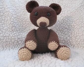 Handmade Crocheted Brown Stuffed Bear