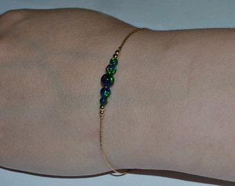 OPAL BRACELET // Tiny Opal Bracelet Gold - Green Blue Opal Ball Bracelet - Dot Bracelet - Single Bead Bracelet - Opal Bead Bracelet