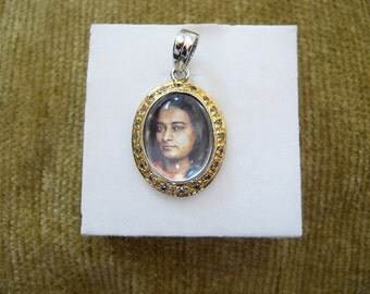 Paramhansa Yogananda Pendant - Silver, Gold,Crystals, Natural Quartz