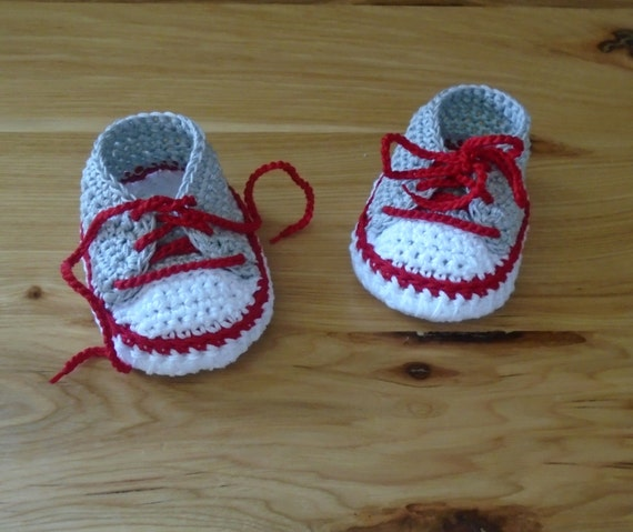 Ohio State Baby Shoes Crocheted Baby Sneakers OSU Baby Baby